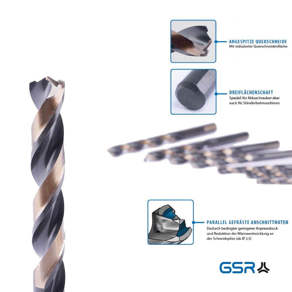 Technische Details eines PowerSpike Spiralbohrers mit dreiflächenschaft, angespitztem Querschneide und Parallel gefräste Anschnittnuten