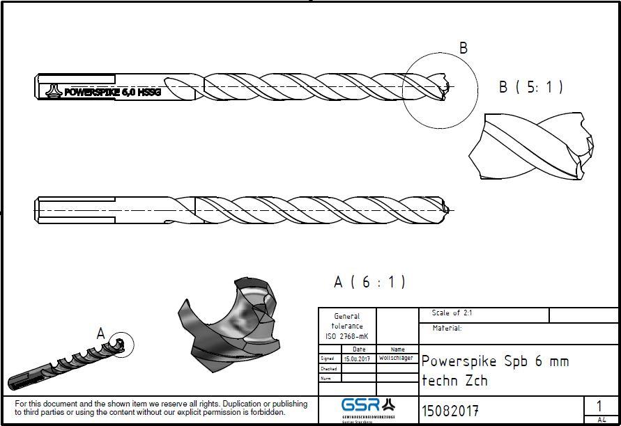 Technische Zeichnung eines PowerSpike Spiralbohrers mit 6mm